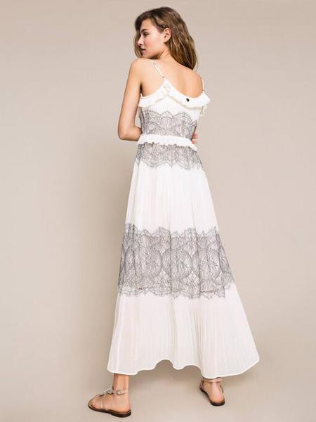 TWINSET女装品牌2020春夏吊带白色灰连衣裙