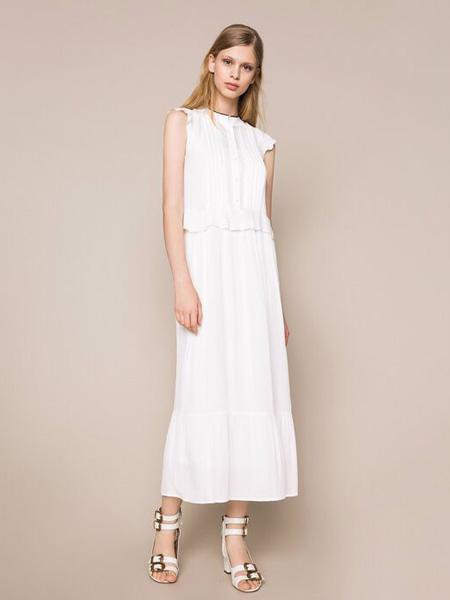 TWINSET女装品牌2020春夏白色简约连衣裙