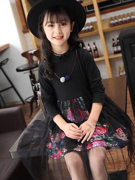 宾果童话童装品牌2020春夏黑色网纱拼接连衣裙