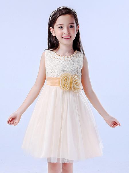 宾果童话童装品牌2020春夏玫瑰收腰网纱连衣裙
