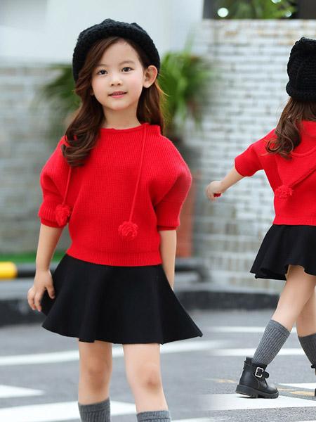 宾果童话童装品牌2020春夏大红色针织衫黑色短裙