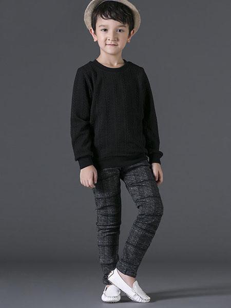 宾果童话童装品牌2020春夏圆领黑色卫衣