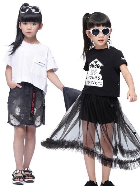 宾果童话童装品牌2020春夏白色T恤网纱黑色半裙