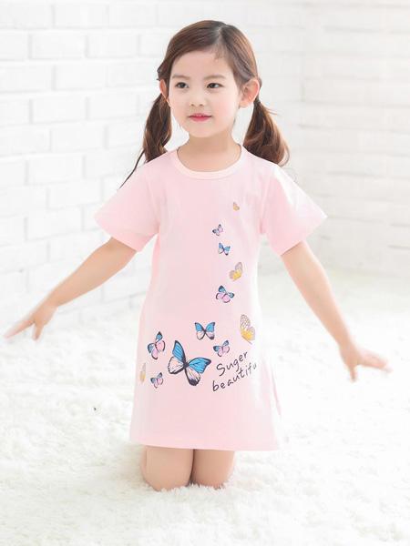 宾果童话童装品牌2020春夏粉色修身连衣裙