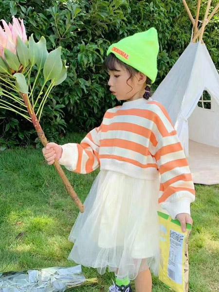 宾果童话童装品牌2020春夏横纹黄色网纱半裙
