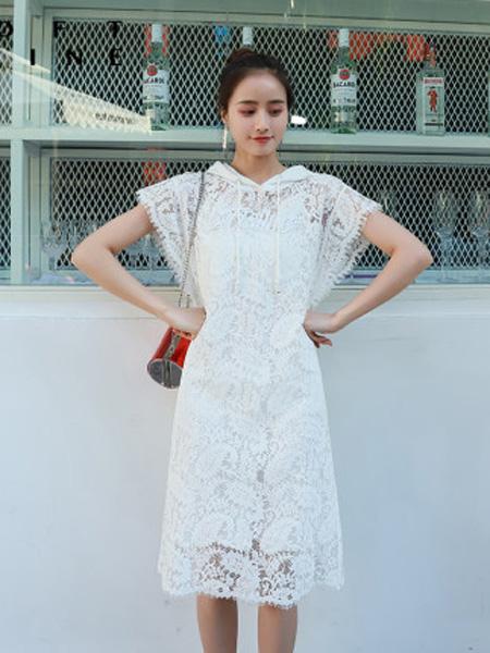 LOFT SHINE女装品牌2020春夏专柜正品白色镂空连衣裙