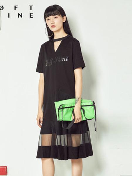 LOFT SHINE女装品牌2020春夏专柜正品V领拼接连衣裙