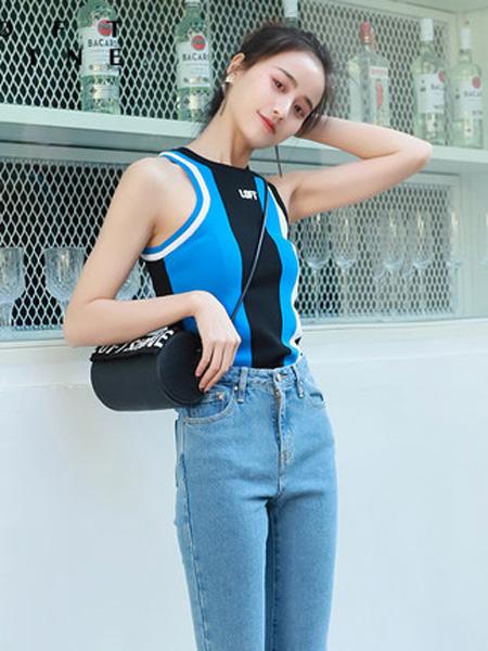 LOFT SHINE女装品牌2020春夏拼色修身毛织背心