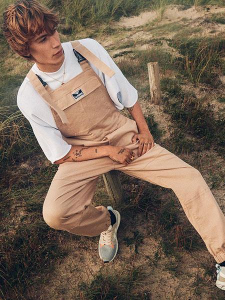 大黄蜂-Hummel休闲品牌2020春夏卡其色背带裤