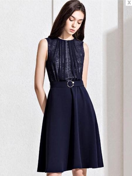 观钵缘女装品牌2020春夏无袖藏蓝色连衣裙