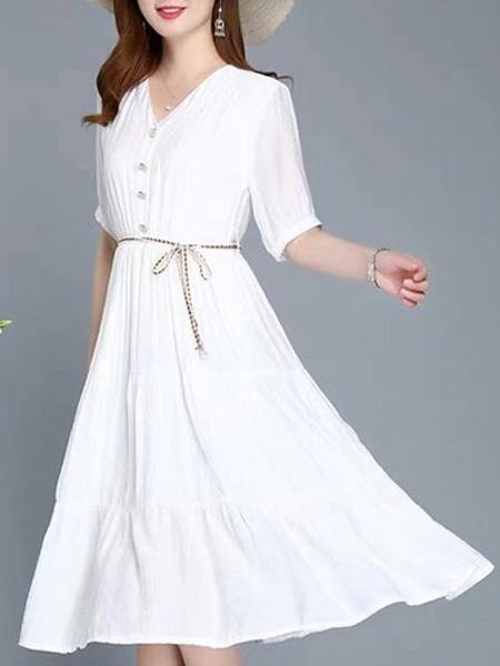 花月秋女装品牌2020春夏V领白色连衣裙