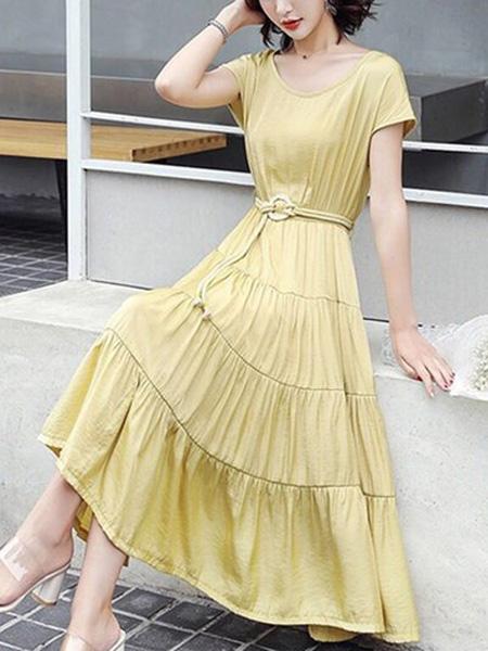 花月秋女装品牌2020春夏圆领黄色连衣裙