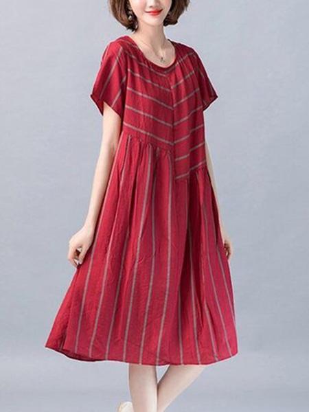 花月秋女装品牌2020春夏圆领大红色连衣裙