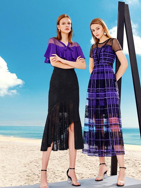 DU迪如女装品牌2020春夏紫色雪纺衫黑色半裙