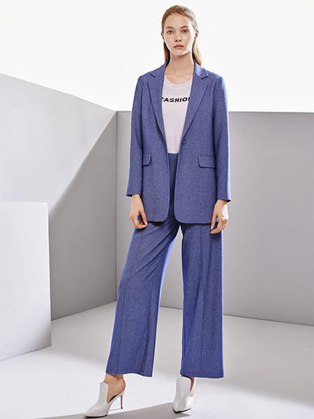 DU迪如女装品牌2020春夏紫蓝色西装套装