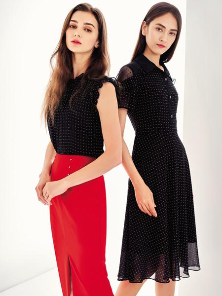 娇雪芳菲女装品牌2020春夏黑色修身波点连衣裙