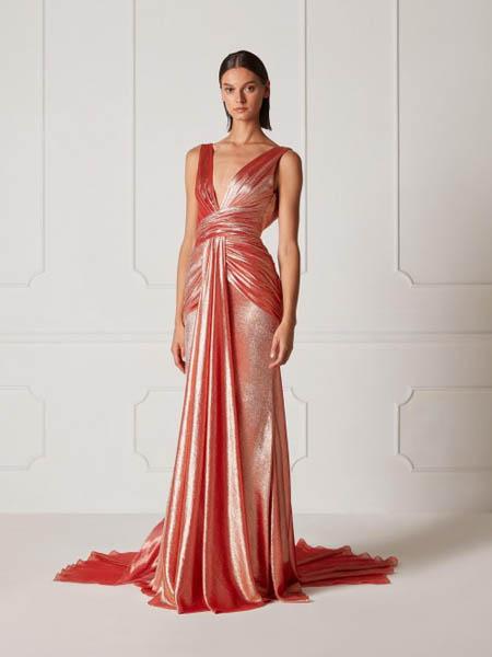 Hamda Al Fahim国际品牌丝绸性感v领修身连衣裙