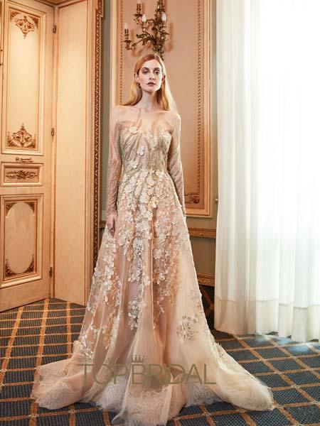 YolanCris Bridal Fall国际品牌时尚v领蕾丝连衣裙