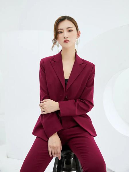 巴蒂米澜女装品牌2020春夏酒红色西装套装
