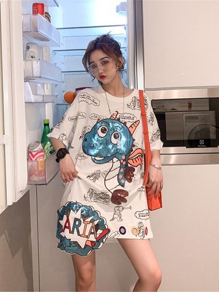 阿奇米朵女装品牌2020春夏宽松休闲下衣失踪短袖
