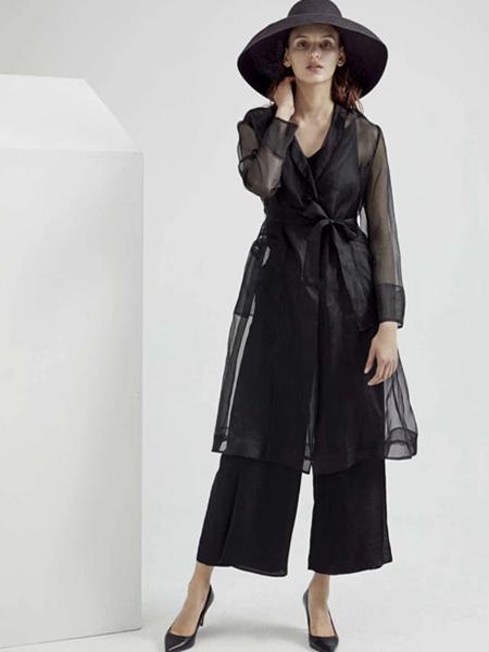Guke谷可女装品牌2020春夏V领收腰黑纱外套