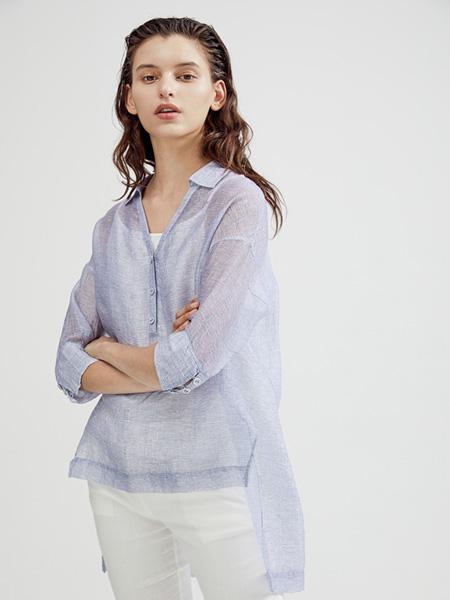 Guke谷可女装品牌2020春夏翻领浅紫色上衣