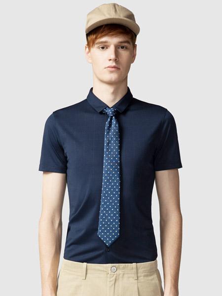 步森女装品牌2020春夏翻领藏蓝色衬衫领带