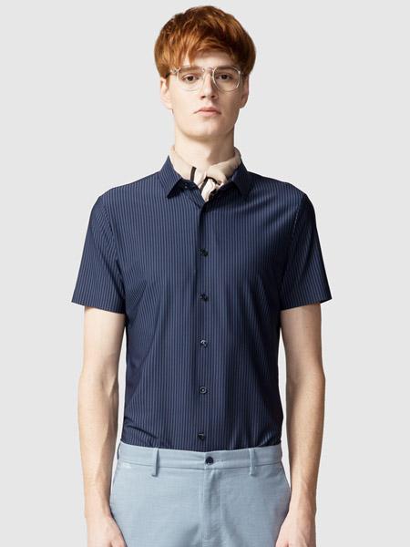 步森女装品牌2020春夏竖纹藏蓝色衬衫