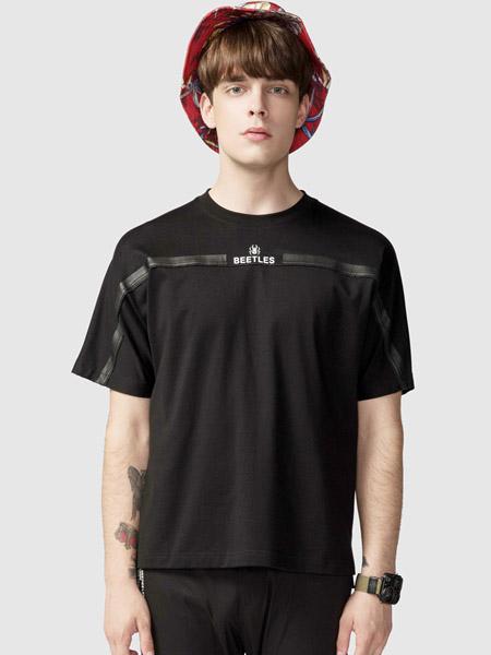 步森女装品牌2020春夏圆领黑色T恤