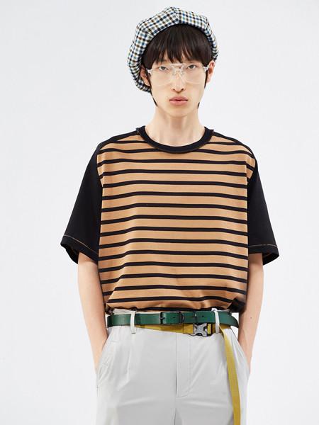 速写男装品牌2020春夏纯棉个性条纹短袖