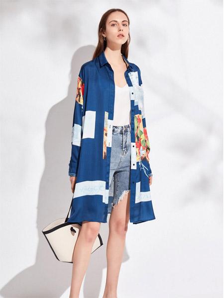 昆诗兰女装品牌2020春夏蓝色长款衬衫外套
