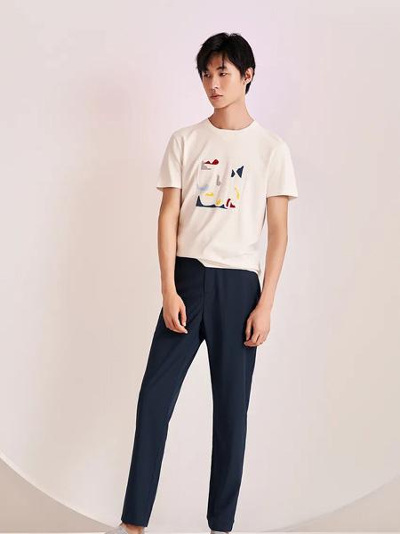 佛伦斯男装品牌2020春夏圆领白色T恤