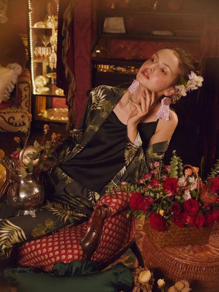 Lavomee娜摩米女装品牌2020春夏深青色外套睡裙丝绸