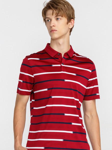 GY金利来时尚休闲男装男装品牌2020春夏新款男天丝棉混纺舒适撞色条纹翻领短袖T恤
