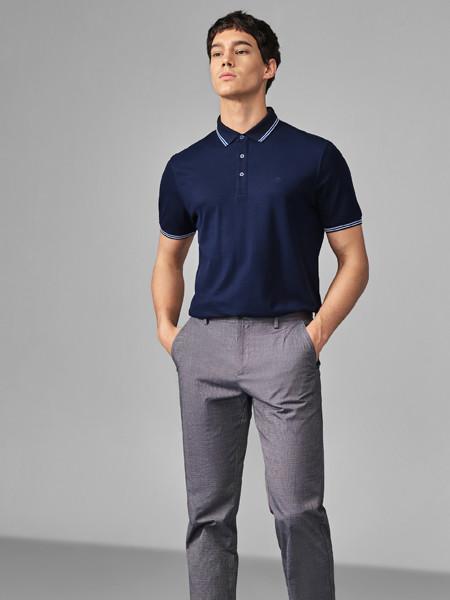 GY金利来时尚休闲男装男装品牌2020春夏棉质混纺舒适拼接条纹翻领青年短袖T恤