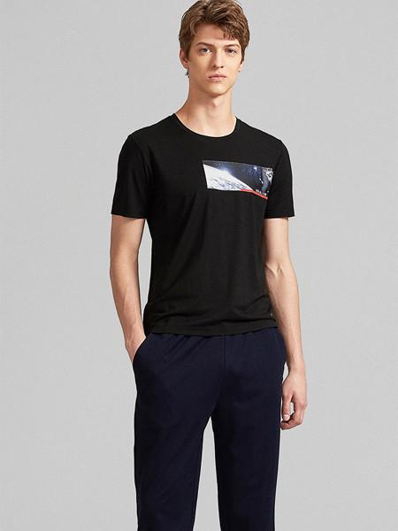 GY金利来时尚休闲男装男装品牌2020春夏宇航员印花莫代尔圆领休闲居家短袖T恤衫