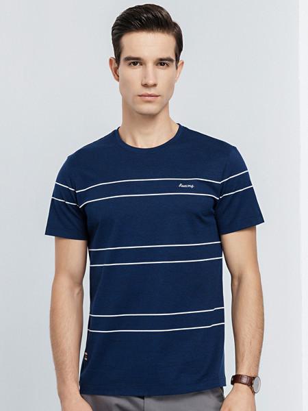 罗蒙ROMON男装品牌2020春夏男士短袖T恤衫薄款时尚条纹t恤中青年修身百搭打底衫