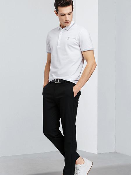 罗蒙ROMON男装品牌2020春夏商务休闲短袖t恤休闲长裤套装