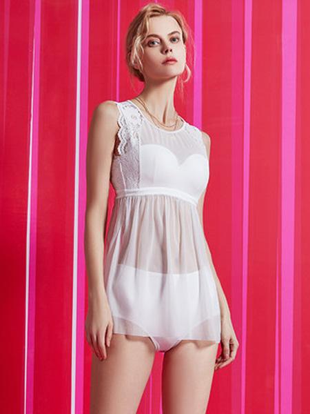 MYBODY内衣品牌2020春夏网纱拼接性感显瘦遮肚裙式分身假两件泳衣女