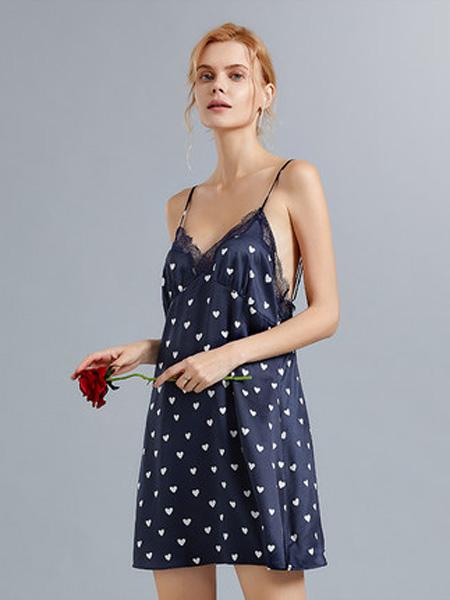 MYBODY内衣品牌2020春夏短款心型波点吊带蕾丝绸缎小吊带宽松丝绸
