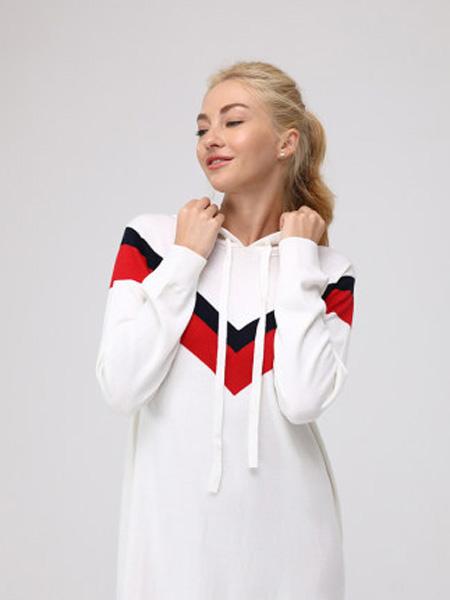 MYBODY内衣品牌2020春夏女士长袖简约连帽中长款春夏孕妇半身长运动裙