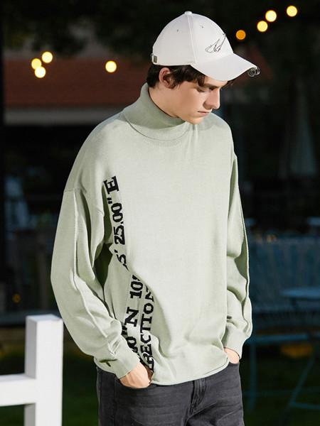 Jeanswest真维斯休闲品牌2020春夏时尚高翻领提字长袖毛线衫