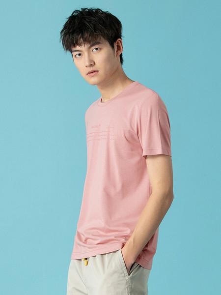 Jeanswest真维斯休闲品牌2020春夏新款时尚潮流莫代尔修身圆领字母印花短袖t恤