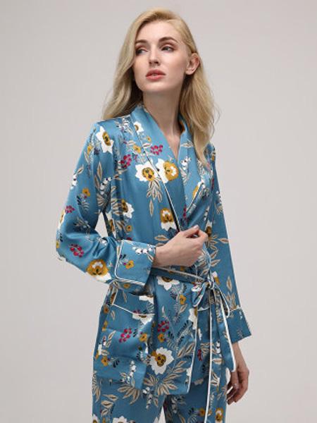 MYBODY内衣品牌2020春秋舒适女薄款家居服套装印花性感长款休闲睡衣