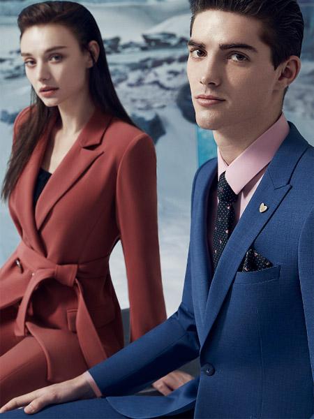 华萨尼男装品牌2020春夏男女红色蓝色西装套装