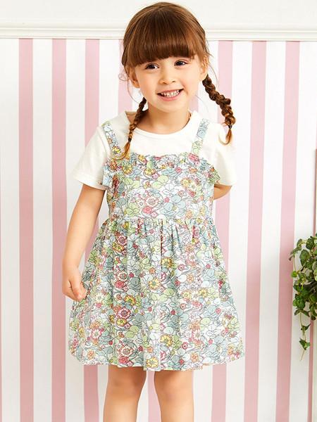 红蜻蜓童装品牌2020春夏新款女童短袖连衣裙碎花百搭复古裙子儿童套装