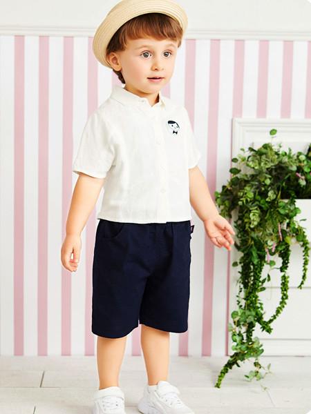 红蜻蜓童装品牌2020春夏新款男童棉麻套装夏季简约短袖衬衫百搭儿童中裤
