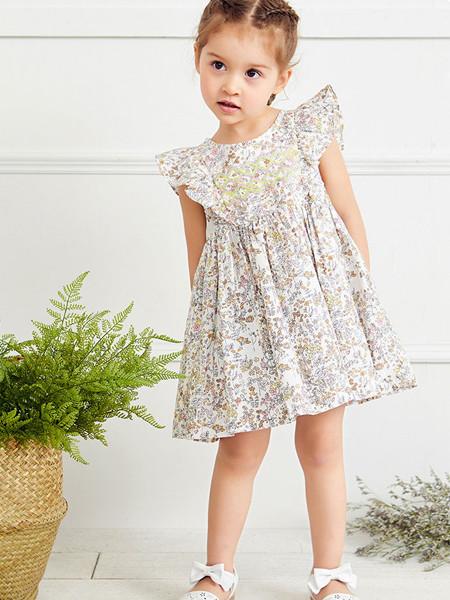 红蜻蜓童装品牌2020春夏碎花女童连衣裙时尚中小童公主裙坎肩荷叶边裙子