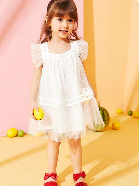 红蜻蜓童装品牌2020春夏女童连衣裙纯棉网纱公主裙新款儿童无袖裙子