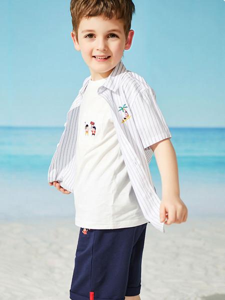 红蜻蜓童装品牌2020春夏新款夏男童短袖衬衣纯棉舒适条纹衬衫儿童洋气上衣